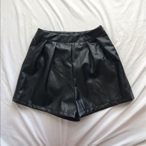 NEW Missguided Black Leather High Waisted Shorts